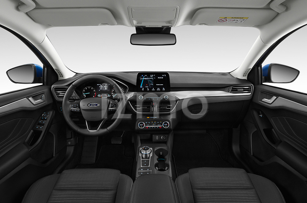 Stock photo of straight dashboard view of a 2018 Ford Focus Clipper Titanium Business 5 Door Wagon