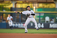 Scranton/Wilkes-Barre RailRiders shortstop Cito Culver (0) throws to first base during a game against the Pawtucket Red Sox on May 15, 2017 at PNC Field in Moosic, Pennsylvania.  Scranton defeated Pawtucket 8-4.  (Mike Janes/Four Seam Images)