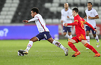 SWANSEA, WALES - NOVEMBER 12: Weston McKennie #8 of the United States  moves with the ball during a game between Wales and USMNT at Liberty Stadium on November 12, 2020 in Swansea, Wales.