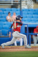 Fort Myers Miracle second baseman Alex Perez (2) follows through on a swing during a game against the Dunedin Blue Jays on April 17, 2018 at Dunedin Stadium in Dunedin, Florida.  Dunedin defeated Fort Myers 5-2.  (Mike Janes/Four Seam Images)
