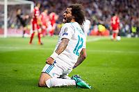 Real Madrid Marcelo celebrating a goal during Semi Finals UEFA Champions League match between Real Madrid and Bayern Munich at Santiago Bernabeu Stadium in Madrid, Spain. May 01, 2018.  *** Local Caption *** © pixathlon<br /> Contact: +49-40-22 63 02 60 , info@pixathlon.de