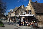 Great Britain, England, Worcestershire, Broadway: View along village high street in the Cotswolds