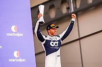 6th June 2021; F1 Grand Prix of Azerbaijan, Race Day;  GASLY Pierre (fra), Scuderia AlphaTauri Honda AT02,  celebrating his podium during the Formula 1 Azerbaijan Grand Prix 2021 at the Baku City Circuit
