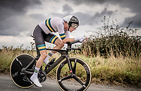 defending champion Rohan Dennis (AUS/Bahrein-Merida) not riding his teambike, but an anonymous BMC and well underway at prolonging his title<br /> <br /> Elite Men Individual Time Trial<br /> from Northhallerton to Harrogate (54km)<br /> <br /> 2019 Road World Championships Yorkshire (GBR)<br /> <br /> ©kramon