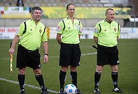 20140315 - WESTERLO , BELGIUM : referees Sharon Sluyts (m) , L Maes and E Deckers pictured during the soccer match between the women teams of SK Lierse Dames  and SC Heerenveen Vrouwen , on the 19th matchday of the BeNeleague competition Saturday 15 March 2014 in Westerlo . PHOTO DAVID CATRY