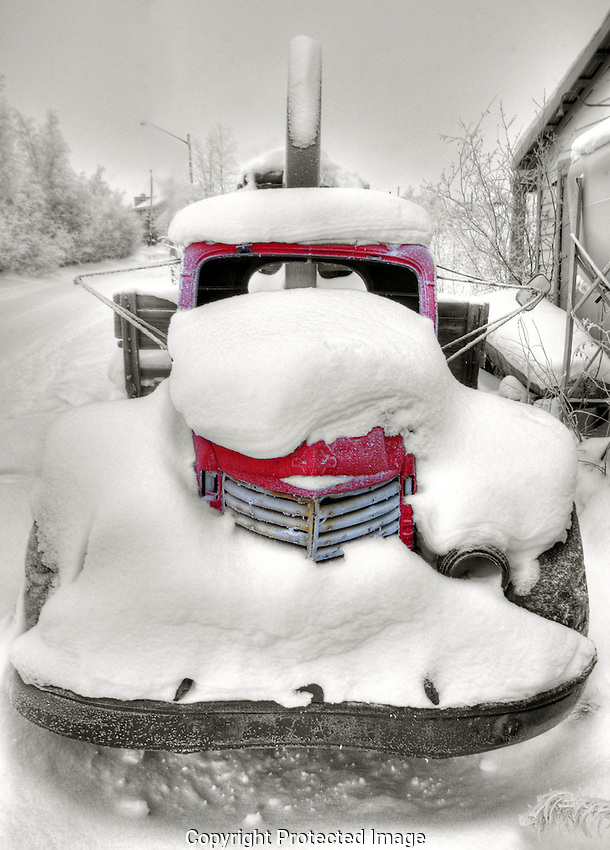 Old snowcovered truck