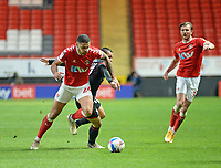 4th May 2021; The Valley, London, England; English Football League One Football, Charlton Athletic versus Lincoln City; Inniss in the Charlton defence snuffs out another Lincoln attack