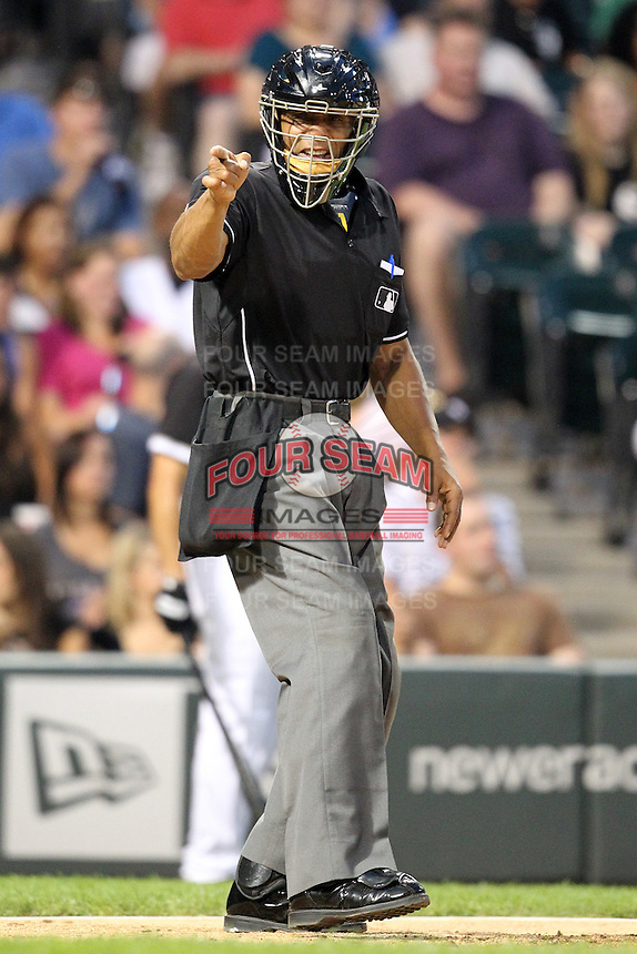 Home plate umpire CB Bucknor during a game for the Chicago White Sox vs. the Detroit Tigers at U.S. Cellular Field in Chicago, Illinois August 13, 2010.   Chicago defeated Detroit 8-4.  Photo By Mike Janes/Four Seam Images