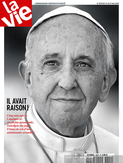 La Vie France Magazine. Pope Francis on May 21,2020.Photograph by Stefano Spaziani