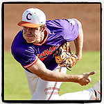 Evan Estridge (52) of the Clemson Tigers delivers a pitch in Game 2 of the Orange-Purple intrasquad scrimmage series on Saturday, November 21, 2020, at Doug Kingsmore Stadium in Clemson, South Carolina. Orange won, 3-1. (Tom Priddy/Four Seam Images) #Clemson