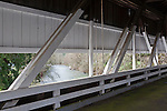 Calapoosia River seen from Crawfordsville Covered Bridge  in Linn County, Oregon.  An open truss style bridge built 1932.