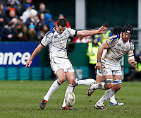 Photo: Richard Lane/Richard Lane Photography. Bath Rugby v Leinster. Heineken Cup. 11/12/2011. Leinster's Jonathan Sexton kicks.