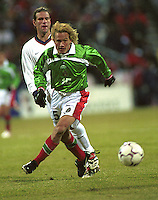 Colombus, Ohio - February 28, 2001: USA vs Mexico during qualifying for the 2002 World Cup.