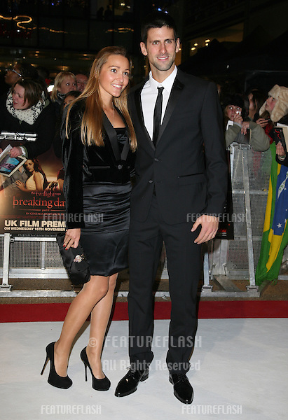 Novak Djokovic and Jelena Ristic arriving for the UK premiere of The Twilight Saga: Breaking Dawn Part 1 at Westfield Stratford City, London. 17/11/2011 Picture by: Alexandra Glen / Featureflash