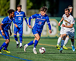 26 October 2019: University of Massachusetts Lowell River Hawk Midfielder Dario Jovanovski, a Senior from Zagreb, Croatia, in first half action against the University of Vermont Catamounts at Virtue Field in Burlington, Vermont. The Catamounts rallied to defeat the River Hawks 2-1, propelling the Cats to the America East Division 1 conference playoffs. Mandatory Credit: Ed Wolfstein Photo *** RAW (NEF) Image File Available ***
