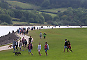 29/08/16<br /> <br /> Walkers walk along on Carsington Water dam wall, near Ashbourne in Derbyshire.<br /> <br /> All Rights Reserved, F Stop Press Ltd. +44 (0)1773 550665