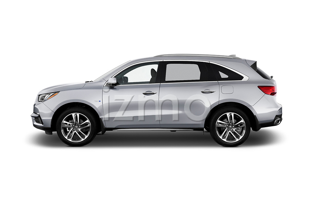 Car driver side profile view of a 2018 Acura MDX Sport Hybrid Advance Package 5 Door SUV