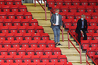 West Ham Manager, David Moyes and his Assistant, Alan Irvine, have plenty of seats to choose from as look around the main stand during Charlton Athletic vs Wigan Athletic, Sky Bet EFL Championship Football at The Valley on 18th July 2020