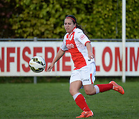 20150428 - VARSENARE , BELGIUM : Standard's Vanity Lewerissa  pictured in action during the soccer match between the women teams of Club Brugge Vrouwen and Standard de Liege Femina , on the 24th matchday of the BeNeleague competition Tuesday 28 th April 2015 in Varsenare . PHOTO DAVID CATRY