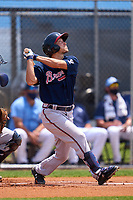 Atlanta Braves Andrew Moritz (91) bats during a Minor League Spring Training game against the Tampa Bay Rays on April 25, 2021 at Charlotte Sports Park in Port Charlotte, Florida.  (Mike Janes/Four Seam Images)