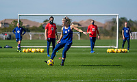 ORLANDO, FL - JANUARY 20: Julie Ertz #8 of the USWNT passes the ball during a training session at the practice fields on January 20, 2021 in Orlando, Florida.
