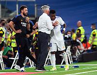 12th September 2021; Estadio Santiago Bernabeu, Madrid, Spain; La Liga, Real Madrid CF versus RC Celta de Vigo; Carlo Ancelotti congratulates Vinicius for his goal