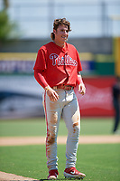 Philadelphia Phillies Bryson Stott (10) during an Instructional League game against the Toronto Blue Jays on September 17, 2019 at Spectrum Field in Clearwater, Florida.  (Mike Janes/Four Seam Images)
