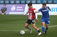 Joel Randall of Exeter City shields the ball from Gillingham's Alex MacDonald during Gillingham vs Exeter City, Emirates FA Cup Football at the MEMS Priestfield Stadium on 28th November 2020