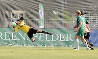 Hope Solo makes a save...Saint Louis Athletica tied FC Gold Pride 1-1, at Anheuser-Busch Soccer Park, Fenton, MO.