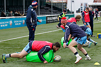 Rory Jennings of London Scottish warming up during the Greene King IPA Championship match between Ealing Trailfinders and London Scottish Football Club at Castle Bar , West Ealing , England  on 19 January 2019. Photo by Carlton Myrie/PRiME Media Images