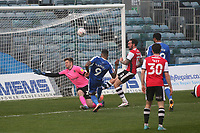 Dominic Samuel of Gillingham blasts the ball over the Exeter goal and the scoreline remains 0-0 during Gillingham vs Exeter City, Emirates FA Cup Football at the MEMS Priestfield Stadium on 28th November 2020