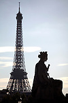 A statue representing French city in Concorde Square Place de la Concorde with Eiffel Tower in the background. Paris. France