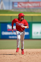 Philadelphia Phillies third baseman Alec Bohm (18) runs the bases during a Florida Instructional League game against the Toronto Blue Jays on September 24, 2018 at Spectrum Field in Clearwater, Florida.  (Mike Janes/Four Seam Images)