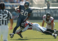 Sep 18, 2005; Seattle, WA, USA; Seattle Seahawks running back Maurice Morris #20 rushes the ball against the Atlanta Falcons in the second quarter at Qwest Field. Mandatory Credit: Photo By Mark J. Rebilas