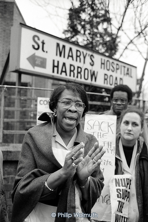 Hospital domestic Rita Maxim speaks outside St Mary's Hospital, Harrow Road, where she has worked for 22 years, after being sacked for refusing to sign a new short term contract. February 1984