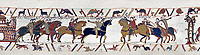 Bayeux Tapestry  Scene 13 - Harold is handed over by Guy count of Ponthieu to Duke Williams.
