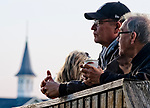 LOUISVILLE, KY - APRIL 30: Fans chat and drink coffee during morning workouts in the shadow if the infamous Twin Spires at Churchill Downs on April 30, 2018 in Louisville, Kentucky. (Photo by Scott Serio/Eclipse Sportswire/Getty Images)