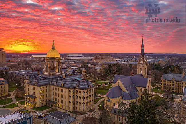 November 18, 2020; Sunrise over campus, fall 2020 (Photo by Matt Cashore/University of Notre Dame)