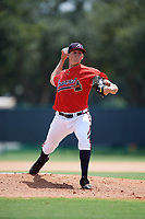GCL Braves starting pitcher Kyle Wright (40) delivers a warmup pitch during a game against the GCL Pirates on July 27, 2017 at ESPN Wide World of Sports Complex in Kissimmee, Florida.  GCL Braves defeated the GCL Pirates 8-6.  (Mike Janes/Four Seam Images)