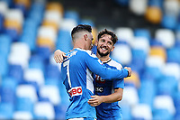 Jose Callejon of Napoli celebrates with  Dries Mertens <br /> during the Serie A football match between SSC  Napoli and SPAL at stadio San Paolo in Naples ( Italy ), June 28th, 2020. Play resumes behind closed doors following the outbreak of the coronavirus disease. <br /> Photo Cesare Purini / Insidefoto