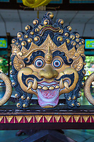 Yogyakarta, Java, Indonesia.  Javanese Demon's Head on Wall Surrounding Dining Area used on Special Occasions, Sultan's Palace.