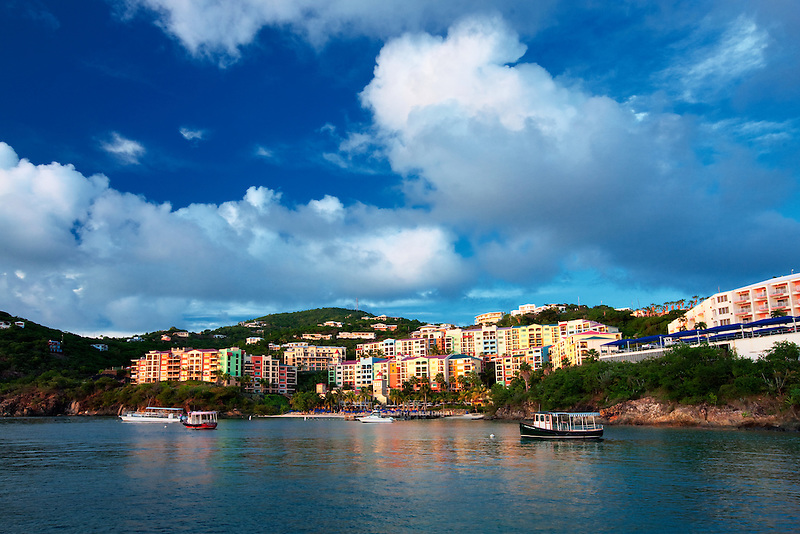 Sunset with Marriot Hotel. Charlotte Amalle. St. Thomas. US Virgin Islands