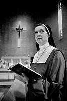House of prayer: Sisters of the Convent of St. John the Divine attend service in the chapel. The convent, headed by Rev. Mother Frances Joyce, inset, emphasizes a prayerful life and also provides temporary lodging for people who want peace and quiet.<br /> <br /> Photo : Boris Spremo - Toronto Star archives - AQP