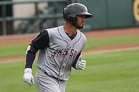 Colorado Springs Sky Sox infielder Luis Sardinas (2) rounds first during a Pacific Coast League game against the Iowa Cubs on May 10th, 2015 at Principal Park in Des Moines, Iowa.  Iowa defeated Colorado Springs 14-2.  (Brad Krause/Four Seam Images)