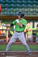 Jameson Fisher (23) of the Great Falls Voyagers at bat against the Ogden Raptors in Pioneer League action at Lindquist Field on August 16, 2016 in Ogden, Utah. Ogden defeated Great Falls 2-1. (Stephen Smith/Four Seam Images)
