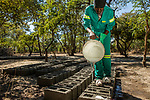 Man making bricks to build new anti-poaching base, Kafue National Park, Zambia