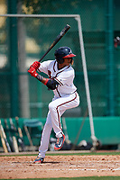 GCL Braves shortstop Juan Morales (24) at bat during the first game of a doubleheader against the GCL Yankees West on July 30, 2018 at Champion Stadium in Kissimmee, Florida.  GCL Yankees West defeated GCL Braves 7-5.  (Mike Janes/Four Seam Images)