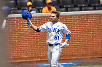 Duke Blue Devils right fielder Peter Matt (51) celebrates a home run against the Liberty Flames in NCAA Regional play on Robert M. Lindsay Field at Lindsey Nelson Stadium on June 4, 2021, in Knoxville, Tennessee. (Danny Parker/Four Seam Images)