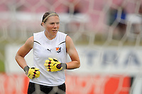 Sky Blue FC goalkeeper Jenni Branam (23) during warm ups. The Chicago Red Stars defeated Sky Blue FC 2-1 during a Women's Professional Soccer (WPS) match at Yurcak Field in Piscataway, NJ, on August 01, 2010.