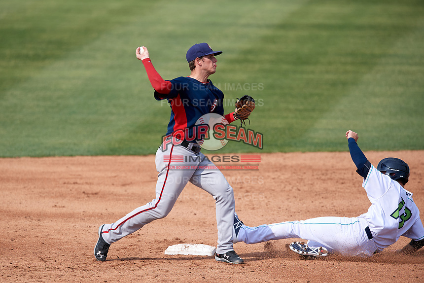 Potomac Nationals second baseman David Masters (8) throws to first base to complete a double play as Trenton Brooks (13) slides in during the first game of a doubleheader against the Lynchburg Hillcats on June 9, 2018 at Calvin Falwell Field in Lynchburg, Virginia.  Lynchburg defeated Potomac 5-3.  (Mike Janes/Four Seam Images)